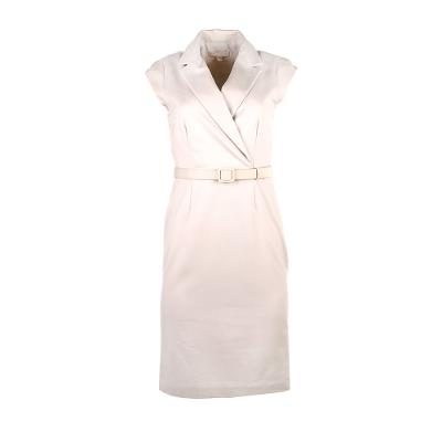 sleeveless midi dress with attached belt beige